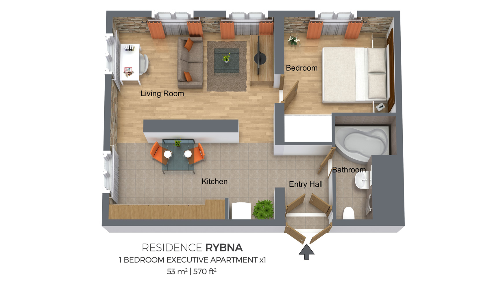 Floorplan Of Residence Rybna One Bedroom Apartment
