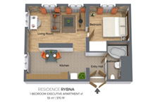 Floorplan of Residence Rybna one-bedroom apartment