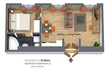 Floorplan of a one bedroom apartment type 2 in Residence Rybna