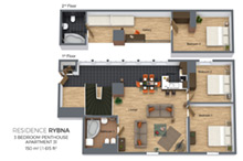 Floorplan a three bedroom duplex apartment No. 31 in Residence Rybna