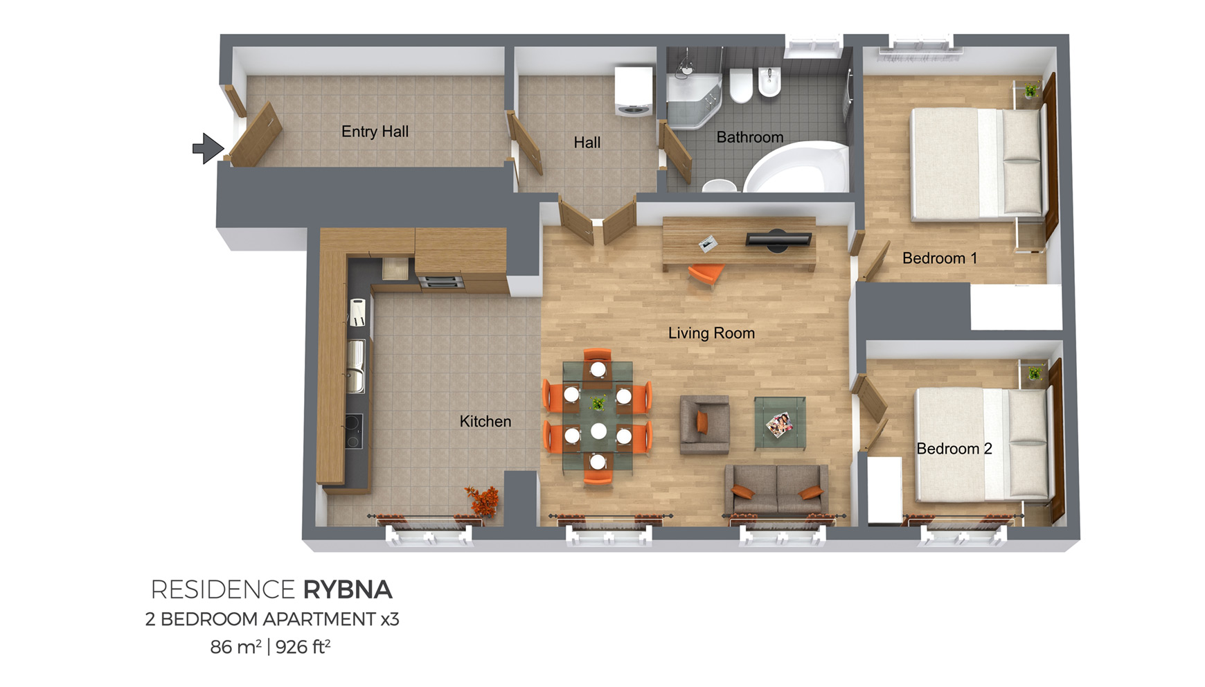 Two Bedroom Apartment Type 3 | Residence Rybna