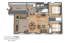 Floorplan of a two bedroom apartment type 3 in Residence Rybna